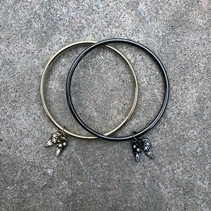 Black and Gold Angel Wing Bangles
